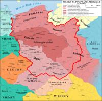 Przypuszczalny zasięg państwa Mieszka I – Civitas Schinesghe i ziemie przyłączone przez tego władcę