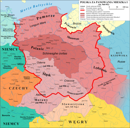 Early Piast Poland in the end of the reign of Mieszko I, c. 992, showing Silesia as part of Poland). The town of Niemcza, acquired by Mieszko in 990, can be seen in the lower left part of the Polish territories shown on the map. Polska 960 - 992.png
