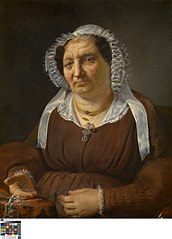 Portret van kantkoopvrouw Anne Godderis-Tulpinck