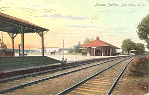 Glen Cove (LIRR station) - 1907 post card of Glen Cove station. Note the freight house southwest of the main station house.