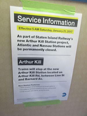 Arthur Kill (Staten Island Railway station) - Poster on a Staten Island Railway R44 train announcing the opening of the Arthur Kill Station
