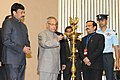 Pranab Mukherjee lighting the lamp at the presentation ceremony of the National Tourism Awards 2011-12, in New Delhi. The Minister of State (Independent Charge) for Tourism, Shri K. Chiranjeevi is also seen.jpg