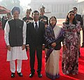 Pratibha Devisingh Patil and the Prime Minister, Dr. Manmohan Singh at the ceremonial reception of the President of the Republic of Maldives, Mr. Mohamed Nasheed and Mrs. Laila Ali at Rashtrapati Bhavan in New Delhi (2).jpg