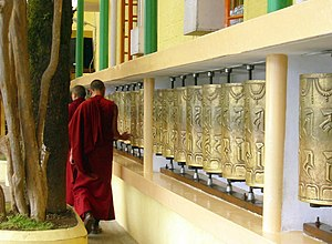McLeod Ganj - Prayer Wheels at 'Tsuglagkhang Temple', McLeod Ganj.