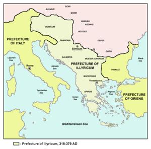 Praetorian prefecture of Illyricum - The praetorian prefecture of Illyricum (375-379)