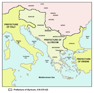 Praetorian prefecture of Illyricum included, in its greatest expanse, Pannonia, Noricum, Crete and most of the Balkan peninsula except Thrace