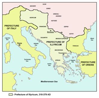 Illyria - The Prefecture of Illyricum 375-379 (light green).