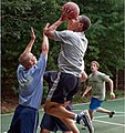 President Barack Obama playing basketball with staffers while on vacation in Martha's Vineyard.jpg