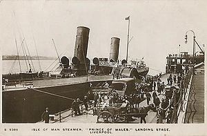 SS Prince of Wales (1887) - Prince of Wales disembarks passengers at The Pier Head, Liverpool.