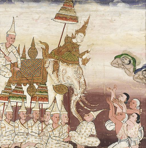 Prince Vessantara Gives Away His White Elephant, Scene from Vessantara Jataka on Generosity LACMA M.76.112.20