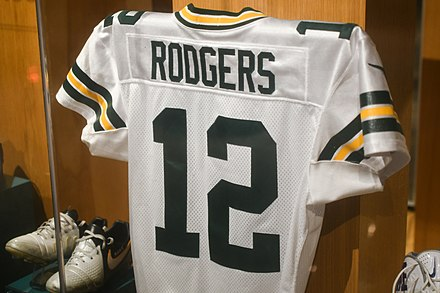 Rodgers' uniform exhibited at the Pro Football Hall of Fame