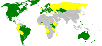 Protocol III - This map shows the current status of Geneva Protocol three, recognizing the Red Crystal as an ICRC emblem, by country: Green - signed and ratified, Yellow - signed only, Gray - neither signed nor ratified.