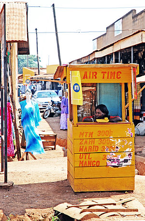 """Mobile telephony in Africa - An MTN-operated """"mobile phone booth"""" (Uganda 2009)"""