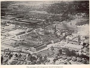 Charles W. Goodyear - Pulp and paper mill in foreground at Bogalusa, Louisiana. Sawmill in background.