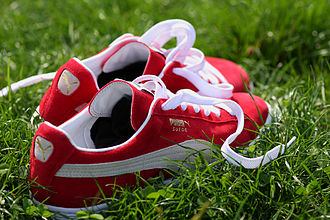Puma (brand) - A pair of PUMA Suede shoes, a style introduced in 1968.