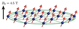 Quantum simulator - Trapped ion quantum simulator illustration: The heart of the simulator is a two-dimensional crystal of beryllium ions (blue spheres in the graphic); the outermost electron of each ion is a quantum bit (qubit, red arrows). The ions are confined by a large magnetic field in a device called a Penning trap (not shown). Inside the trap the crystal rotates clockwise. Credit: Britton/NIST