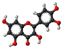 Ball-and-stick model of the quercetin molecule