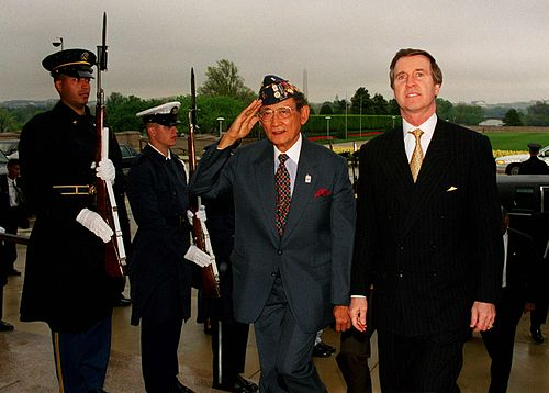 President Fidel V. Ramos troops the honor guards at the Pentagon with Secretary of Defense William Cohen during a State visit in 1998. - Fidel V. Ramos