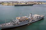 RFA Fort Grange (A385) and USS Carl Vinson (CVN-70) at Pearl Harbor 1986.JPEG