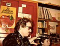 Radio Tomate pirate radio, Jon Hammond at microphone Paris 1981.jpg