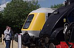 "Prototype HST power car 41001 and LNER A4 Pacific steam loco 60007 ""Sir Nigel Gresley"" at Railfest 2012."