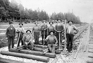 Navvy - Navvies constructing the railway between Stockholm and Uppsala, Sweden (ca 1900).