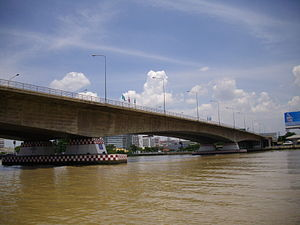 Rama VII Bridge (downstream, west bank of Chao Phraya River).JPG