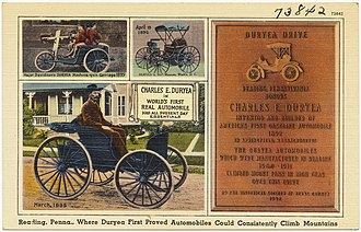 """Duryea Motor Wagon Company - Reading, PA, """"where Duryea first proved automobiles could consistently climb mountains"""""""