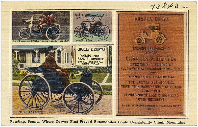File:Reading, PA, where Duryea first proved automobiles could consistently climb mountains.jpg