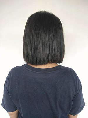 Bob cut - Woman with bob haircut, rear view