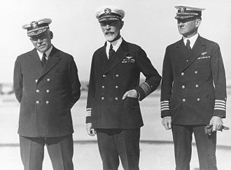 Joseph M. Reeves - Admiral William V. Pratt (left), Rear Admiral Joseph M. Reeves (center), and Captain Frank R. McCrary (right), at Naval Air Station, North Island, San Diego, California, on December 27, 1928.