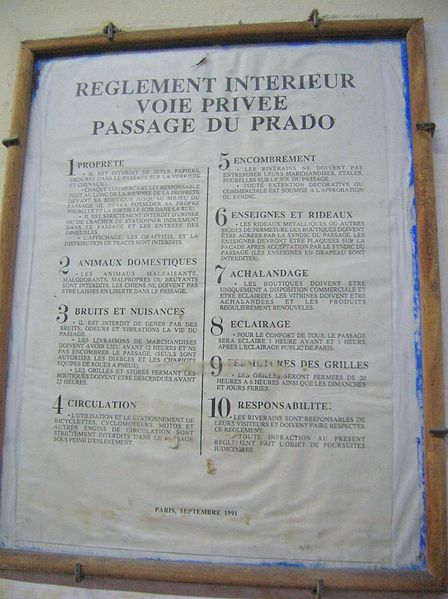 Fichier:Reglement Passage du Prado (Paris).JPG