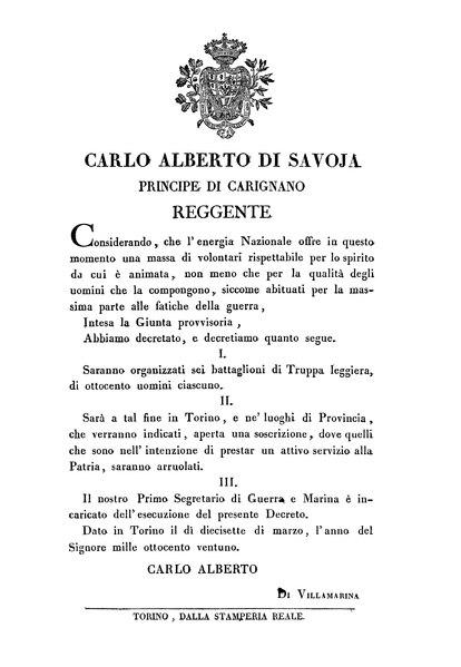 File:Regno di Sardegna - Decreto 17 marzo 1821 (Carlo Alberto).djvu