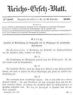 Gesetze und Gesetzgebungsverfahren des Deutschen Reiches 1848/1849