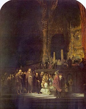 Jacob J. Hinlopen - Christ and the woman taken in adultery. Rembrandt (1644), in the National Gallery, London