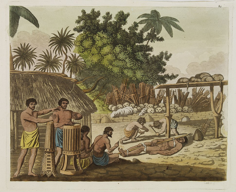 Representation of a human sacrifice in a morai at Otaheite in the presence of Captain Cook and his officers, Le Costume Ancien et Moderne by Giulio Ferrario, 1827