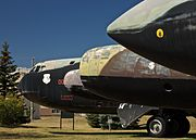 Retired Boeing B-52 Stratofortress commemorating the former K. I. Sawyer Air Force Base near Gwinn, Michigan-2008.jpg