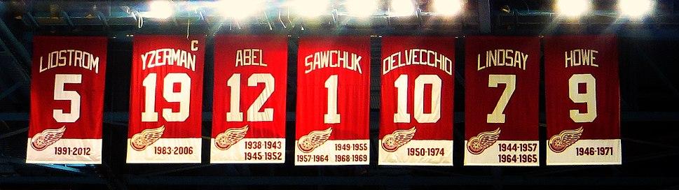 Retired numbers at Joe Louis Arena