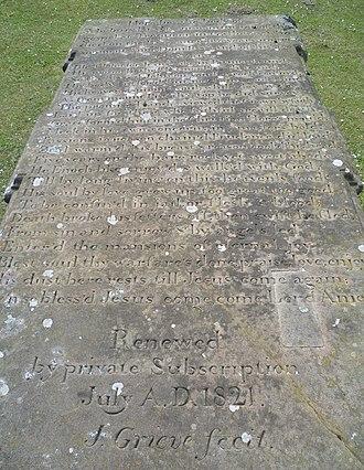 John Blackadder (preacher) - Blackadders tombstone inscription