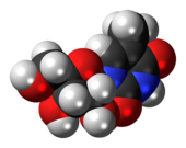 Space-filling model of the 5-methyluridine molecule