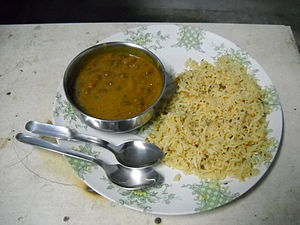 Kidney bean - Curried rajma served with fried rice - a popular north Indian dish