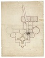 Ritning över Wrangelska palatset, källarvåningen med trappterasser, 1649 - Skoklosters slott - 99033.tif