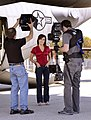 Robin Meade as Matthew Lingerfelt, a steadicam operator with CNN, tapes intro segments at Dobbins with Meade for her Veterans Day Salute to Troops.jpg