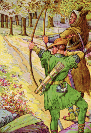 "Henchman - ""Robin Shoots with Sir Guy"" by Louis Rhead. Illustration to Bold Robin Hood and His Outlaw Band: Their Famous Exploits in Sherwood Forest: Guy of Gisbourne acts as the Sheriff of Nottingham's henchman"