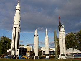 Historic rockets in Rocket Park of the US Space and Rocket Center, Huntsville, Alabama.