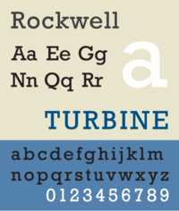 A sample of the typeface Rockwell, a slab serif face based on the neo-grotesque model.