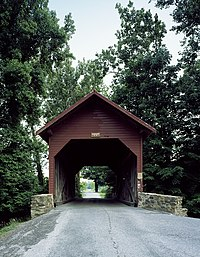 Roddy Road covered bridge near Thurmont in Frederick County, Maryland, built about 1850.jpg