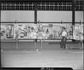 """Rohwer Relocation Center, McGehee, Arkansas. """"Center Occupations,"""" a mural by Mori, who is standin . . . - NARA - 539592.tif"""