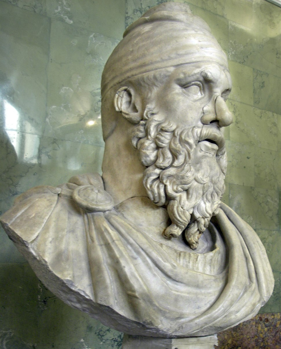 Roman bust of a Dacian tarabostes, Hermitage, St Petersburg, Russia - 20070614