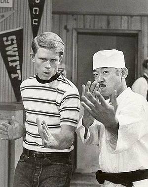 Pat Morita - Morita (with Ron Howard, left) played Arnold Takahashi on the TV series Happy Days in the 1975–76 season.